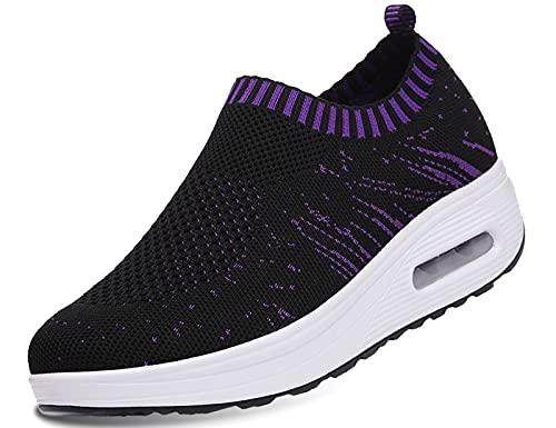 IYVW 3902 Liebhaber Schuhe Damen Laufschuhe Sportschuhe Gym Turnschuhe Freizeitschuhe Atmungsaktiv Running Sneaker Low Top Schnürschuhea Mesh Outdoor Shoes Schwarz 38 EU