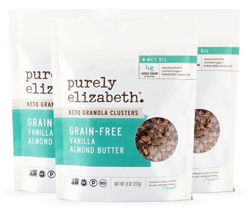 purely elizabeth Grain-Free Granola + Baked With MCT Oil, Paleo + Keto Certified - Vegan & Gluten-Free - Vanilla Almond Butter - 8oz