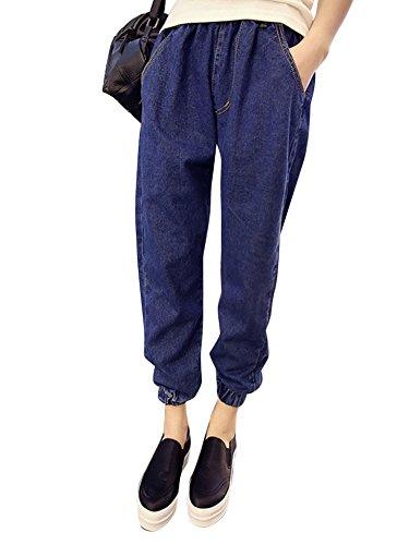 LaoZan Pantaloni da Donna Modello Harem, Jeans Allentati, Pantaloni, Elastico in Vita