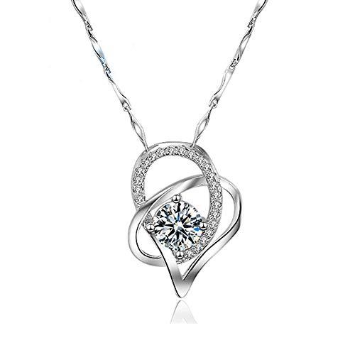 HYLH Halskette für Frauen zierliche handgemachte Anhänger Kette minimalistischen Schmuck Muttertag Schmuck Geschenk, Sterling Silber Anhänger Halskette für Frauen Charm Schmuck