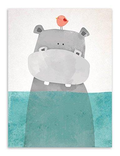 Nordique Mignon Animaux estampes Affiches Toile Polaire Ours/Hippopotame/manchot Dessin animé Wall Art Peintures Bébé Enfants Garderie décoration Sans cadre PTWC001-M