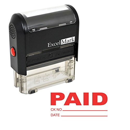Paid with Check and Date - ExcelMark Self-Inking Rubber Stamp - A1539 Red Ink