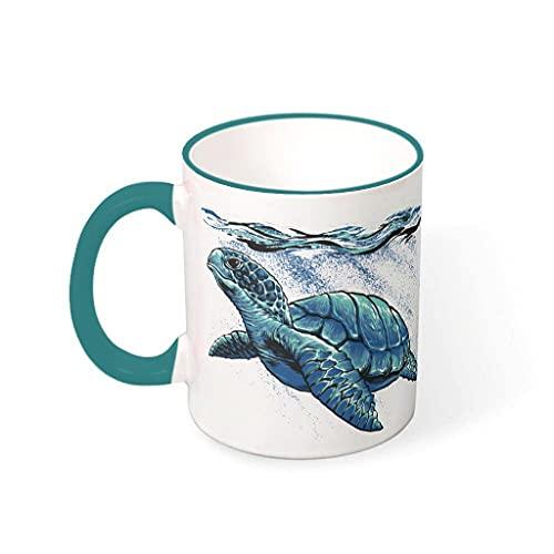 OwlOwlfan Taza de cerámica de color tortuga marina, taza de café divertida con mango para cafetería bar para niños y niñas, verde azulado 330 ml