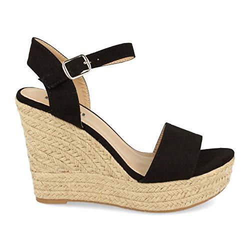 Sandalia Ankle Strap para Mujer con Cuna, Plataforma de Yute y Cierre de Hebilla. Primavera Verano 2020. Talla 36 Negro