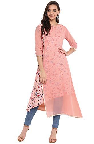 Janasya Women's Pink Poly Crepe A-line Layered Kurta