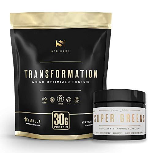 Transformation Premium Protein Powder + Super Greens Immune Boosting Combo Pack - Energy, Gut Health, Detox & Diet Support - 30g Protein & 1 Full Serving Vitamins & Vegetables - Natural Wellness Kit