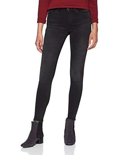 ONLY NOS Damen Skinny Skinny Jeans onlBLUSH MID ANK RAW JEANS REA1099 NOOS, Schwarz (Black Denim), W32/L30 (Herstellergröße: X-Large)