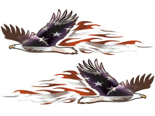 Bald Eagle American Flag Decals - 2 Piece Set - Fitment: Cars Trucks 4x4 Jeeps Hood Door