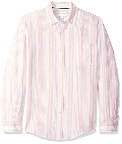 Amazon Essentials Herren-Leinenshirt, Langarm-Shirt, schmale Passform, gestreift, Pink Stripe, US L (EU L)