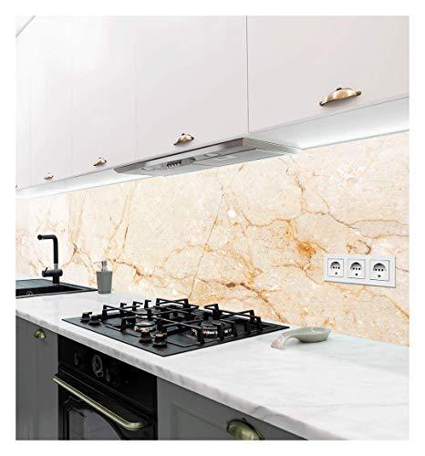 Displayhersteller   Selbstklebende Küchenrückwand   Motiv Marmor beige   adhesive kitchen wall design   Wandtattoo   Wandbild Küche   Wand-Deko   Klebe-Folie   Wandgestaltung