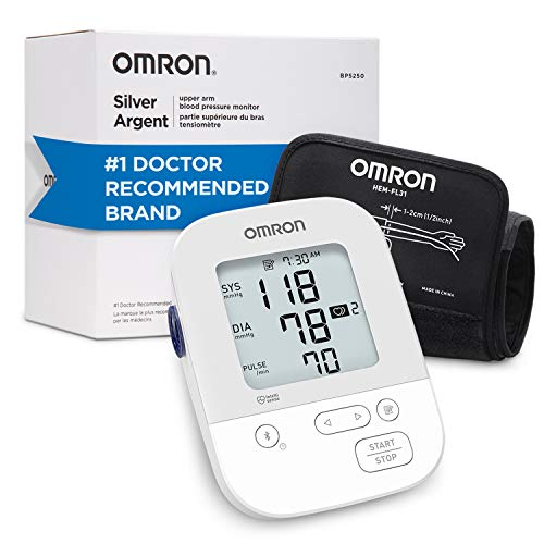Omron Silver Blood Pressure Monitor, Upper Arm Cuff, Digital Bluetooth Blood...