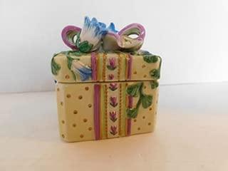 Fitz and Floyd Vintage Essentials Porcelain Blue Floral Themed Square Trinket Box