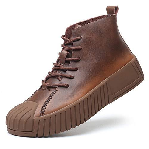 SMSZ enkellaarzen voor mannen werk laarzen veter letterlijke lederen botsing vermijden teen slijtvaste Galosh zool platform antislip (kleur: bruin, Maat : 7 UK)
