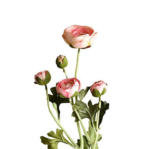 Jia HU 1pièce Tête de fleurs artificielles Pivoine de 5 Pivoine arrangements plantes d'intérieur Décoration extérieure rose