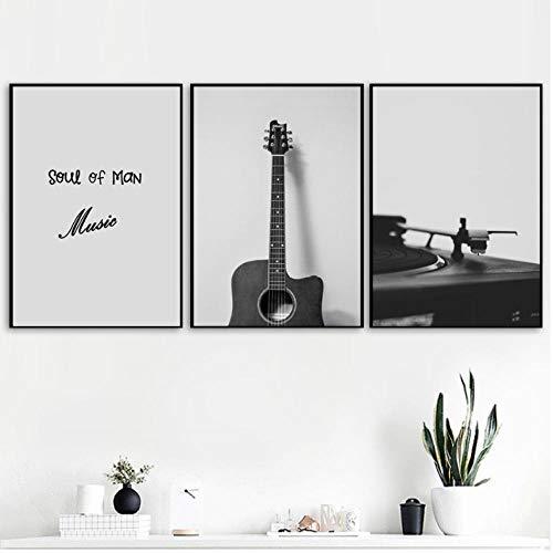 Elmmart Retro-poster gitaar CD-speler muziek muur kunst schilderijen op canvas posters en afdrukken Scandinavische foto's wandschilderijen voor de woonkamer decoratie voor thuis 40 x 60 cm x 3 zonder lijst