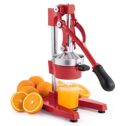 CO-Z Hand Press Juicer Machine, Manual Orange Juicer and Professional Citrus Juicer for Orange Juice Pom Lime Lemon Juice, Commercial Lemon Squeezer and Orange Crusher, Easy to Clean, Red