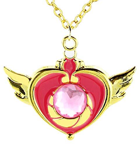 Ketting - vleugels - hart - kristalhart - steen - kerstmis - origineel cadeau-idee - sierraden - verjaardag - roze en goud - sieraden sailor moon