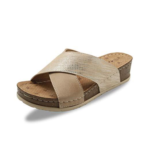Flip flop Zapatos de las mujeres del verano sandalias de suela gruesa informal madura cubierta al aire libre casero antideslizante inferior suave Confort Amigos que recolectan mejor opción,Flesh,39