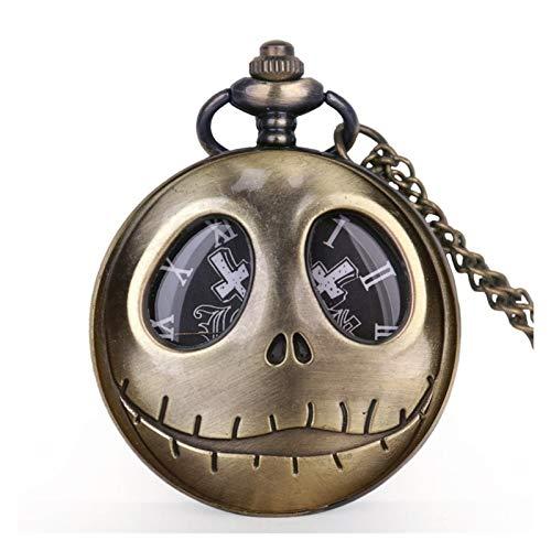 KKDS Clásico Viejo Reloj de Bolsillo Tema de la película la Pesadilla Antes de Navidad Relojes de Bolsillo de Cuarzo con Collar Cadena Mens Fob Watch para el cumpleaños del día del Padre
