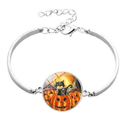 1 pulsera de metal y cristal para Halloween, diseño de calabaza, con gancho, para mujeres, hombres, utensilio cosmético