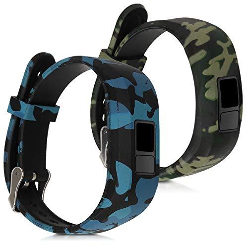 kwmobile Armband kompatibel mit Garmin Vivofit jr. / jr. 2-2X Fitnesstracker TPU Sportarmband - Camouflage Schwarz Hellgrün Dunkelgrün
