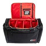 Kicks Kase Premium Sneaker Bag & Travel Duffel Bag - 3 adjustable compartment dividers - For shoes, clothing and gym (Black/Red - KXKS Logo)