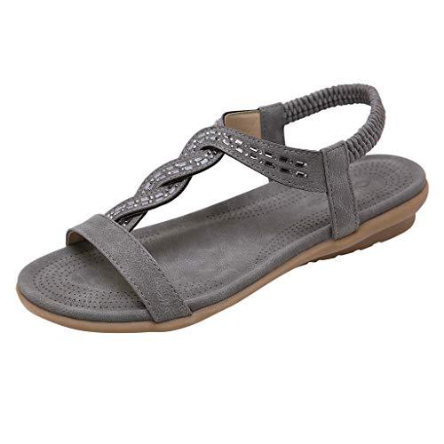 Sylar Sandalias de Verano para Mujer, Zapatos con Punta Abierta Zapatos de Playa con Banda Elástica Plana de Zapatos Planos