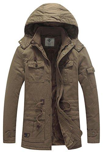 WenVen Men's Warm Cotton Hooded Military Jackets Outerwear B-Khaki M