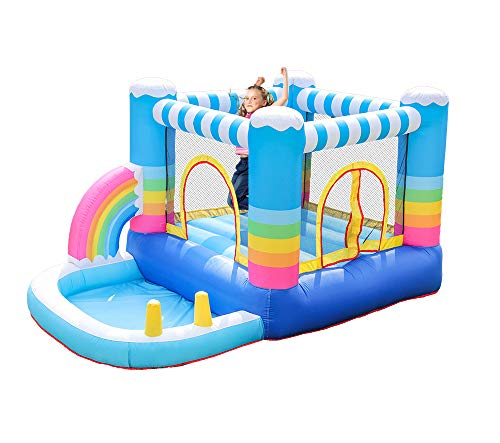 HIJOFUN Inflatable Bounce House with Blower,JumpingCastlesforKids with Pool Indoor Outdoor Multicolor