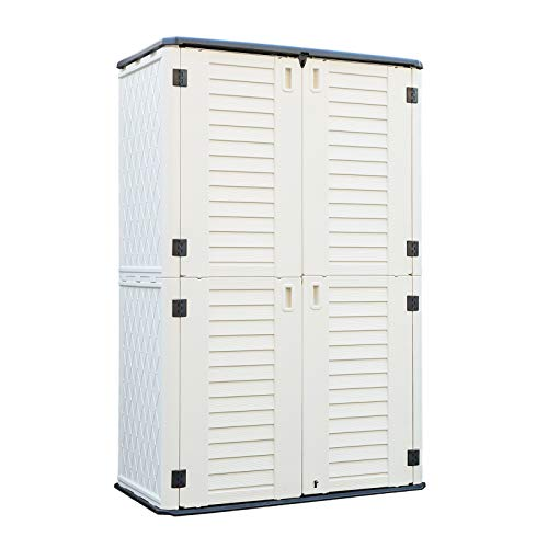ADDOK Vertical Storage Shed Weather Resistance, Lockable Storage Unit Multi-Function, Durable Outdoor Tool Storage Cabinet for Patio, Garden, Backyards(Beige White, 51.6 Cubic Feet)
