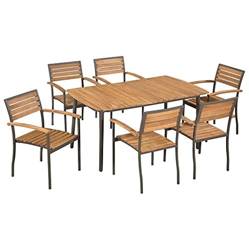 Beyamis Set de Comedor de jardín 7 pzas Madera Maciza de Acacia y Acero