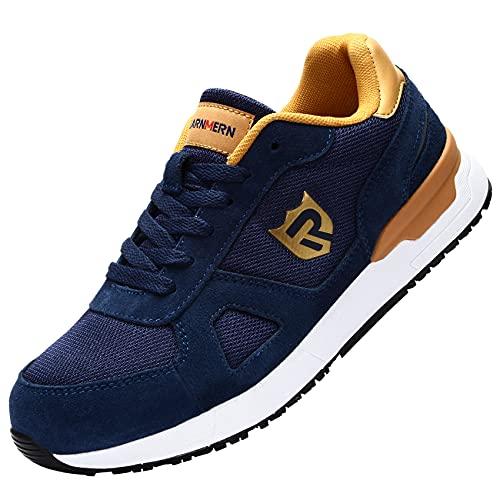 LARNMERN PRO Zapatos de Seguridad Hombre Mujer S1 SRC Anti-Deslizante Zapatos de Trabajo Punta de Acero Zapatillas de Seguridad Ligero Transpirables Calzado de Seguridad Azul Talla 41eu
