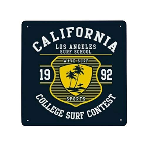 Cartel de cartel de pared de hojalata con estampado de Surf de Los Ángeles, pared de Metal de hierro, decoración de pared de aluminio, placa, decoración, Cafe Bar, 30x30cm