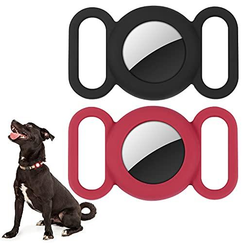 Airtag Hundehalsband, Silikon-Schutzhülle für GPS-Tracking-Finder, Schutzhülle kompatibel mit Apple Airtag, Sicherheit und Anti-Verlust, Hundehalsband und Katzenschlaufe, Haustierzubehör (schwarz-rot)
