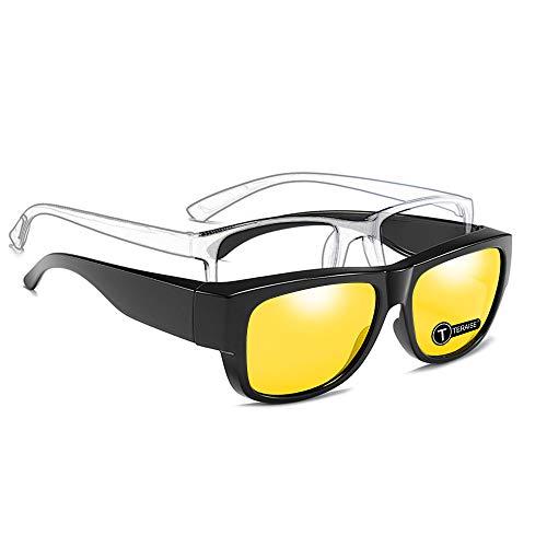 TERAISE Fit Over Glasses Sonnenbrillen - Nachtsichtbrillen Sicherheit Fahren Polarisierte Sonnenbrille Anti-Glare Hd Yellow Lens Für Männer & Frauen(Night)