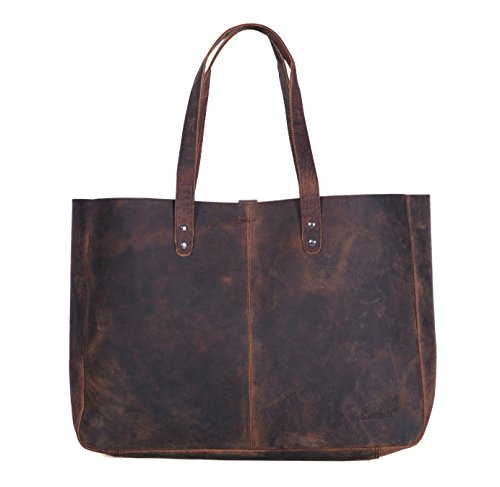 KomalC Leather Shoulder Bag Tote for Women Purse Satchel Travel Bag shopping Carry Messenger Multipurpose Handbag (18.5 INCH, Buffalo Distressed Tan)