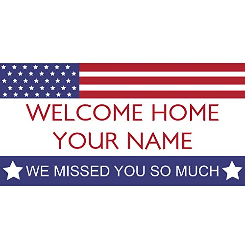 BANNER BUZZ MAKE IT VISIBLE Welcome Home We Missed You So Much Personalized Name Banner 11 Oz High Quality Vinyl PVC Flex Banners with Hemmed Edges & Metal Grommets Free (4' X 2') -  BannerBuzz
