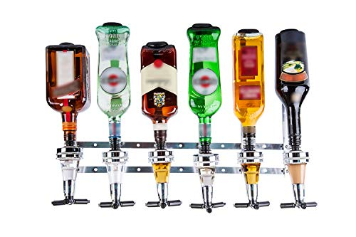 Liquor Dispenser - Wall Mounted Liquor Dispenser - 6 Bottle Liquor Dispenser - Professional Alcohol Dispenser Station - Portable Beverage Wine Racks Cocktail Dispenser Wine Holder