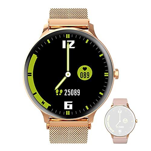 Blackview X2 Damen Smartwatch, Smart Armbanduhr Fitness Tracker Smart Watch Rund 5ATM Wasserdicht Fitnessuhr mit Pulsuhr Schrittzähler Stoppuhr Wearable Sportuhr Kompatibel iOS Android Handy
