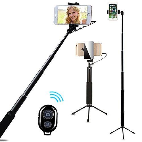 AIYOOE Palo Selfie con Disparador Remoto por Bluetooth, teléfono móvil con Espejo para iPhone 8, 7 Plus/6S/6S Plus, Samsung, HTC, Huawei, Color Negro