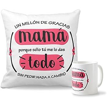 Pack Taza + cojín Día de la Madre | Cojín Personalizado de 40 x 40 cm + Taza de Desayuno de cerámia Regalo Original para el Día de la Madre: Amazon.es: Hogar