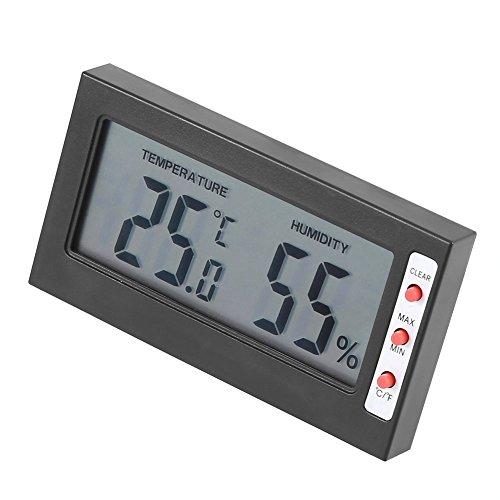 Alvinlite Terómetro Digital Termómetro electrónico Higrómetro Digital para invernaderos Jardines Bodegas Refrigeradores(Negro)