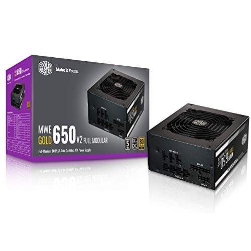 Cooler Master MWE Gold 650 V2 Full Modular, 650W, 80+ Gold Efficiency, 2 EPS Connectors, 120mm HDB Fan, Semi-fanless Operation, 5 Year Warranty