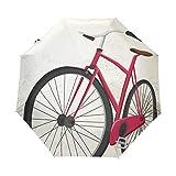Bicicleta De Arte Rojo Antiguo Paraguas Plegable con Apertura y Cierre Automático Antiviento Protección UV Ligero Viajes Paraguas paraPlaya Mujeres Niños Niñas