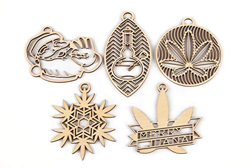 Southside Plants Marijuana Wooden Ornaments - Pack of 5 Weed Themed Christmas Decorations or Rear View Mirror Charms