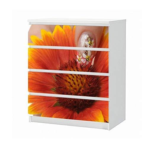 Set Möbelaufkleber für Ikea Kommode MALM 4 Fächer/Schubladen Blume gelb Nail Art Nagel Nagelstudio Biene Aufkleber Möbelfolie sticker (Ohne Möbel) Folie 25B536