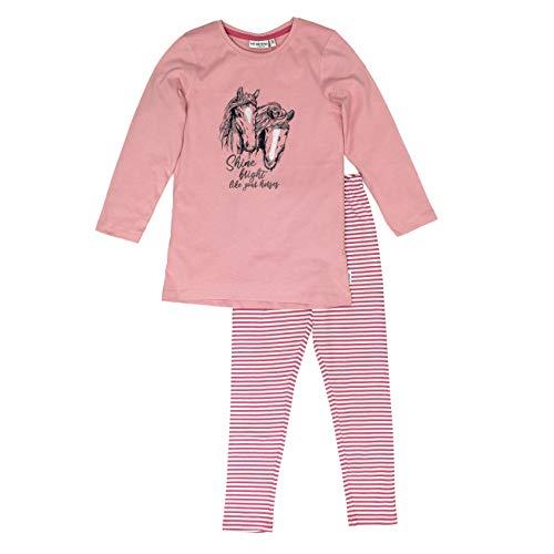 Salt & Pepper Mädchen Pyjama Horses Pferdekopf Glitt Zweiteiliger Schlafanzug, Rosa (Dusty Pink 824), 92 (Herstellergröße: 92/98)