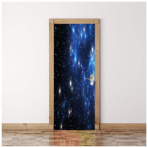 3D Türtapete Sternenklarer Himmel 3D Bewirken Fototapete Türfolie Poster Tapete Abnehmbar Wandtapete Für Wohnzimmer Küche Schlafzimmer Tür-Aufkleber 95X215Cm