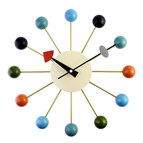 Tuneway Reloj de pared simple y colorido moderno con diseño de bola de metal y bola de madera maciza
