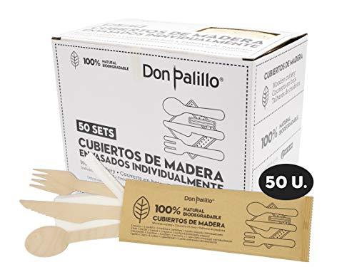 Don Palillo - Sets de Cubiertos de Madera Desechables envasados en Papel Kraft. Cada Set Contiene 1 Tenedor + 1 Cuchillo + 1 Cuchara + 1 servilleta de Papel + 1 palillo env. Ind. Total 50 Sets